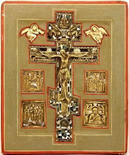 Multi-Paneled Metal Enamel Crucifixion Icon, 19th C