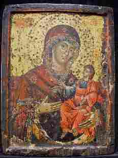 Mother of Hodegetria Greek Icon, 17th C