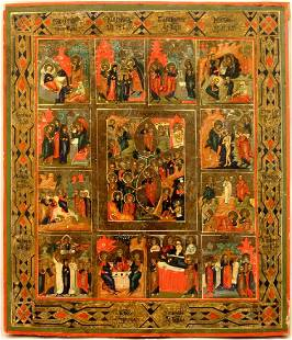 Resurrection with 12 Feasts Large Russian Icon, 19th C