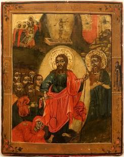 Resurrection Large Russian Icon, 18th C