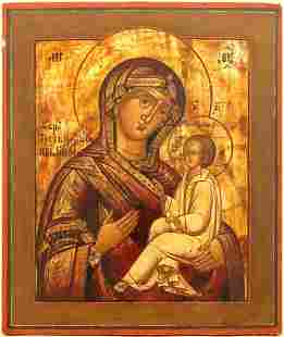 Our Lady Hodegetria of Tichvin Russian Icon, 19th C