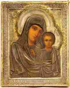Our Lady Hodegetria of Kazan Oklad Russian Icon, 19th C