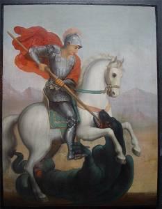 Large Saint George Russian Icon, 19th C