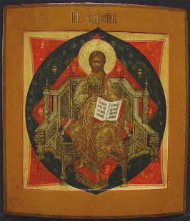 Rare Christ Enthroned in His Glory Russian Icon, 19th C