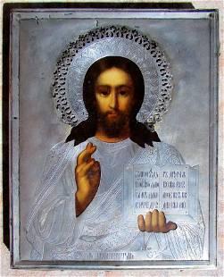 Jesus with Silver Oklad Russian Icon, 19th C