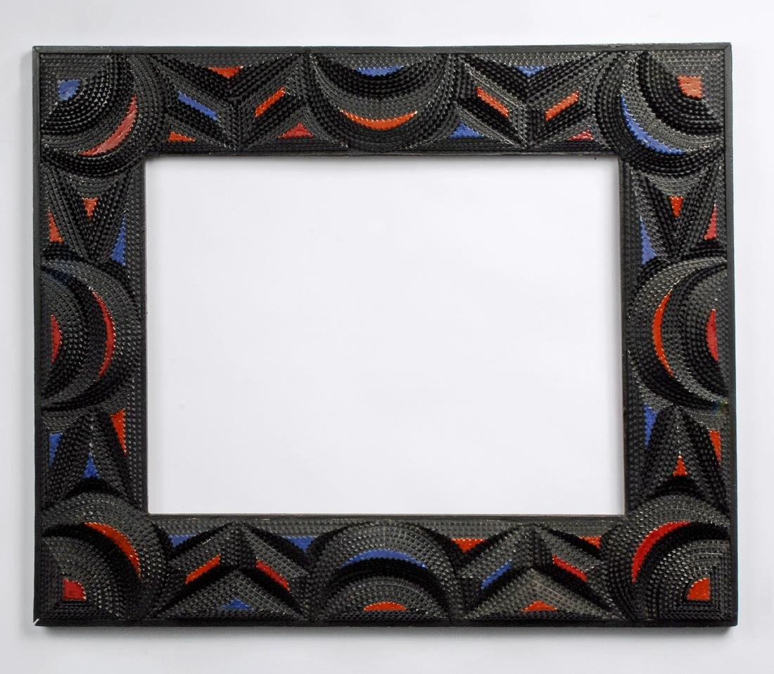 Tramp Art Frame with Painted Highlights