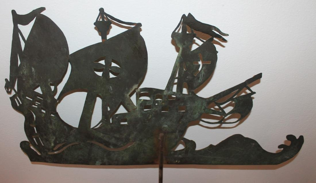 New England Copper Sheet Spanish Galleon Weather Vane - 4