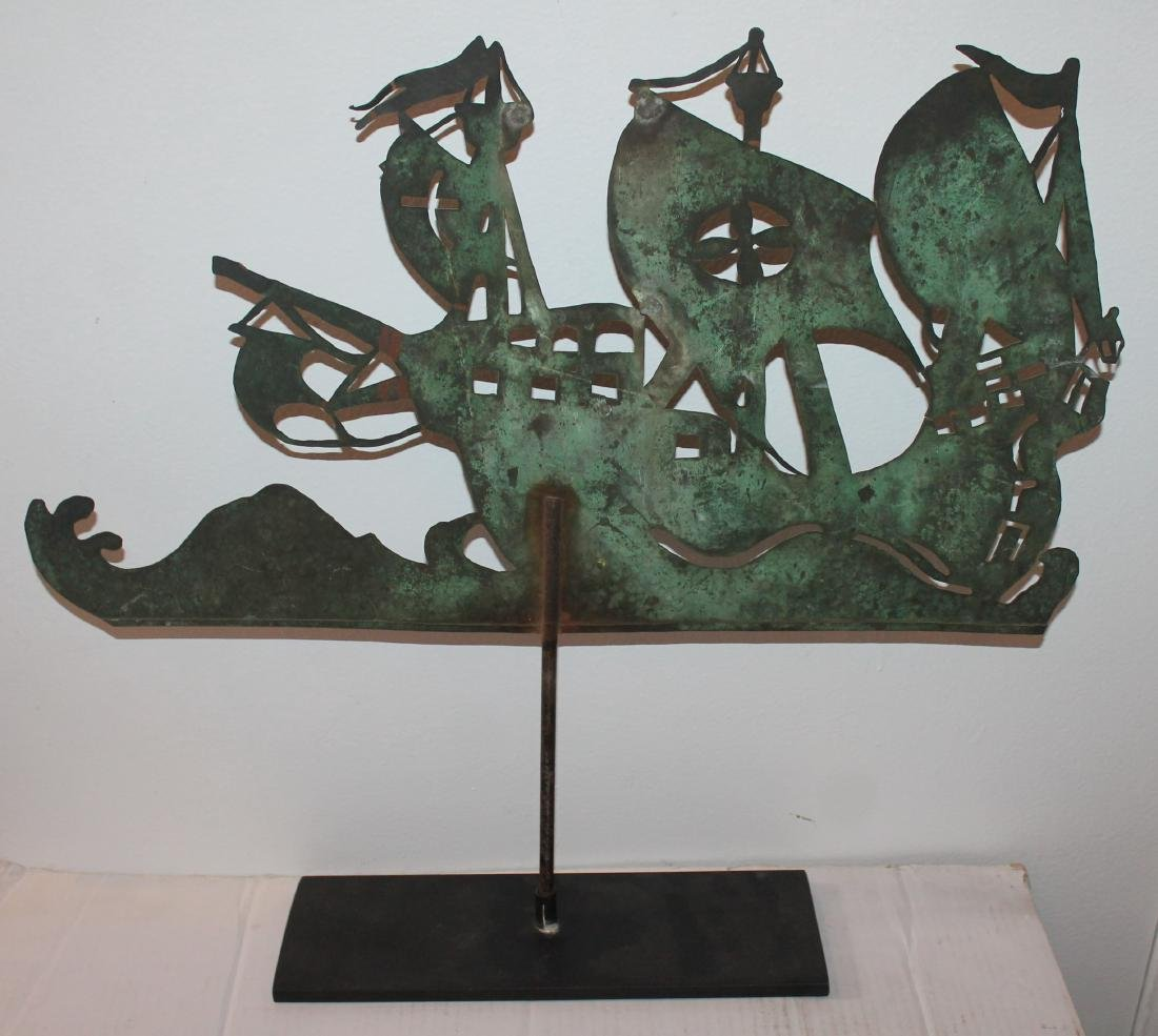 New England Copper Sheet Spanish Galleon Weather Vane - 5