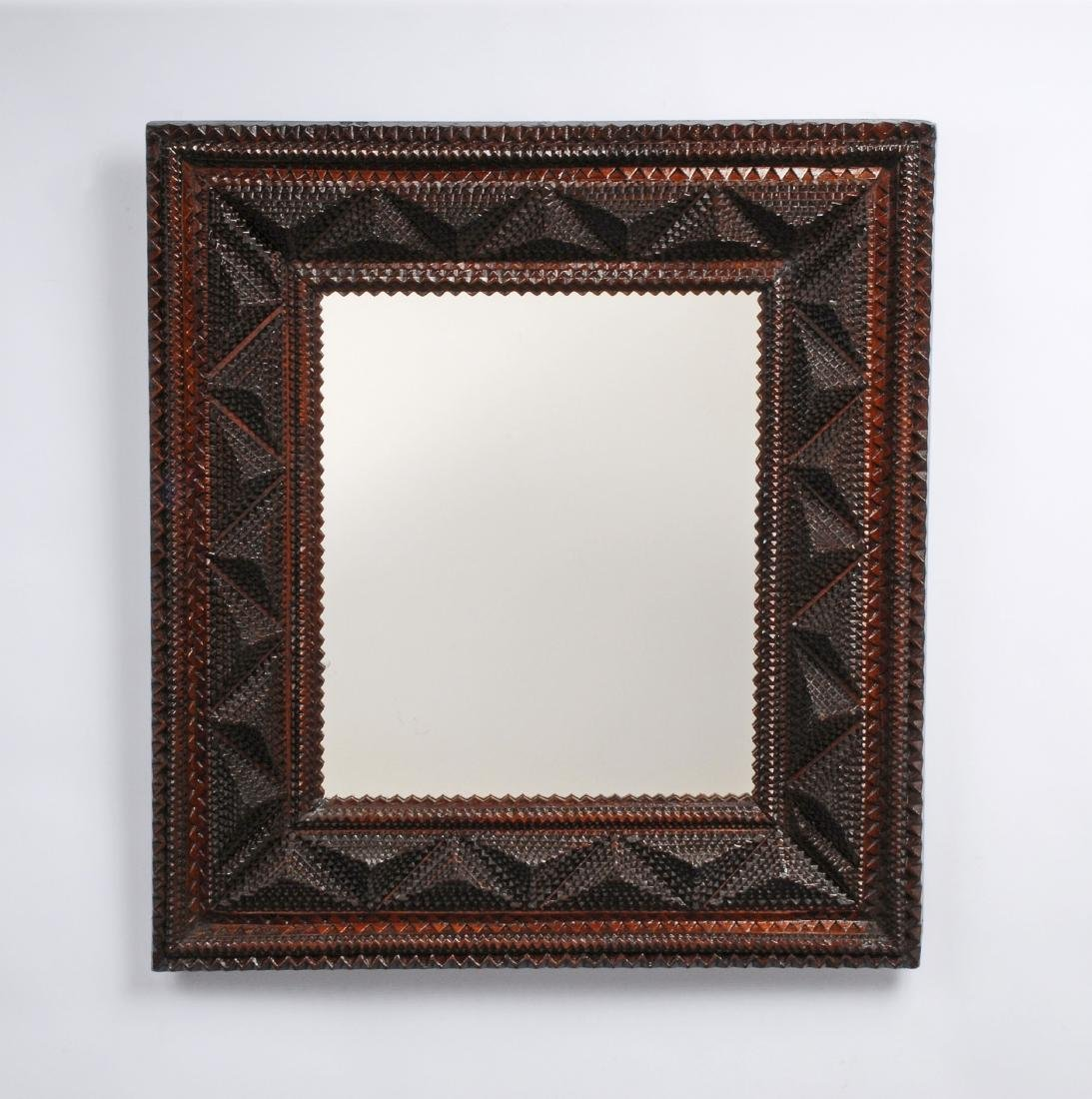 Deeply Layered Tramp Art Mirror Frame