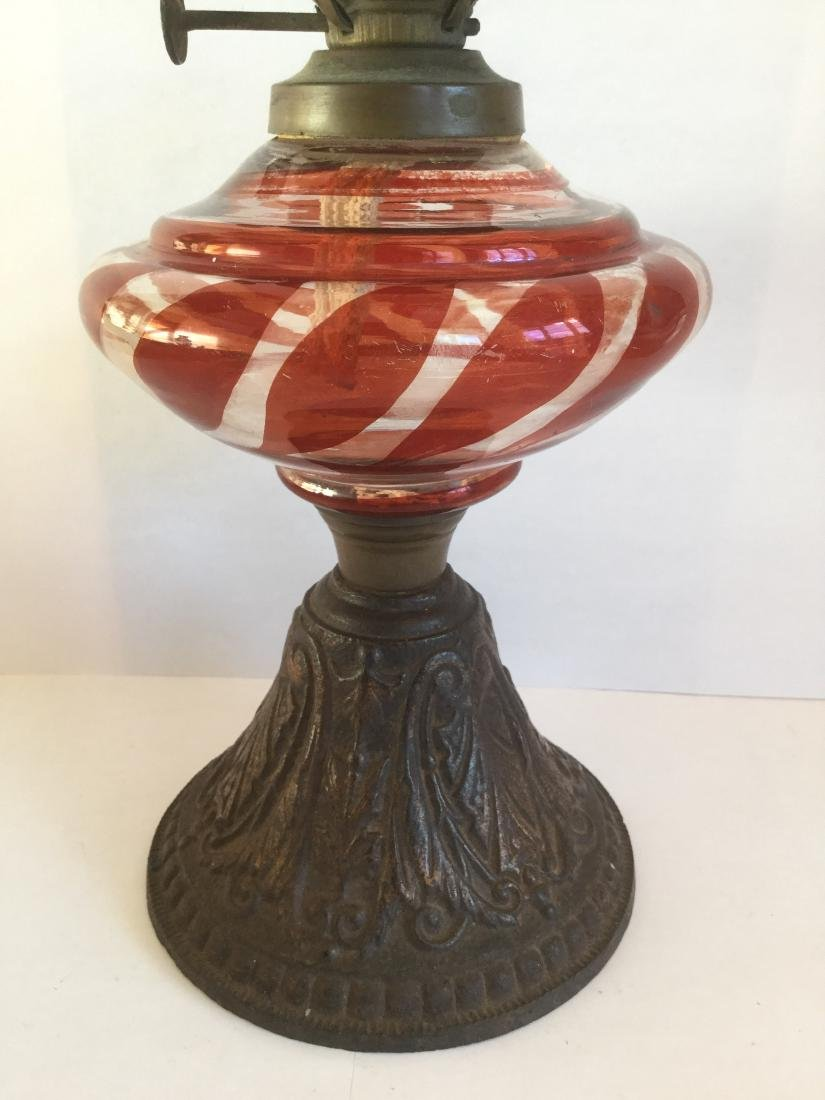 Blown Glass Oil Lamp with Cast Iron Base - 4