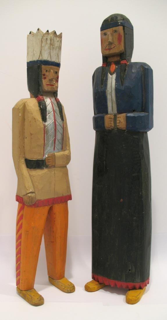 Pair of Folk Art Wooden Indian Carvings