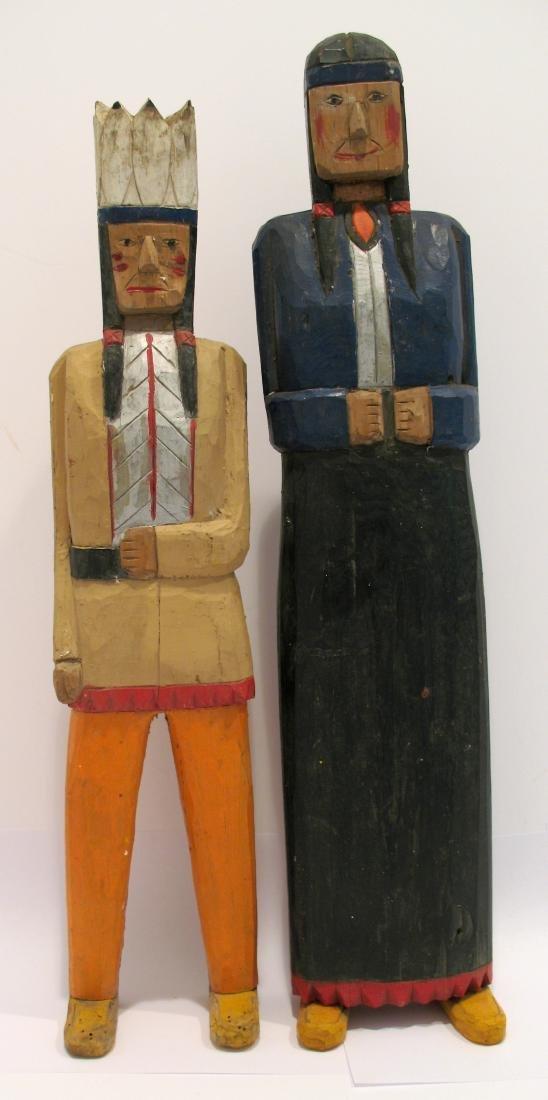 Pair of Folk Art Wooden Indian Carvings - 3