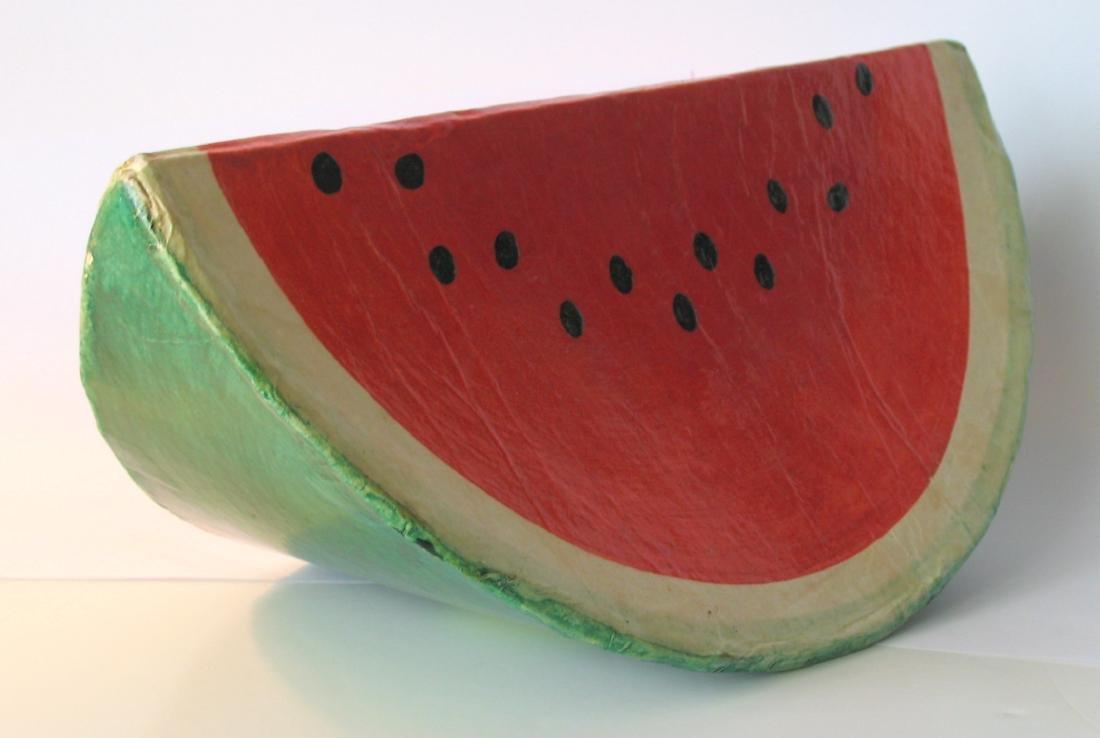 Papier Mache Folk Art Watermelon - 2