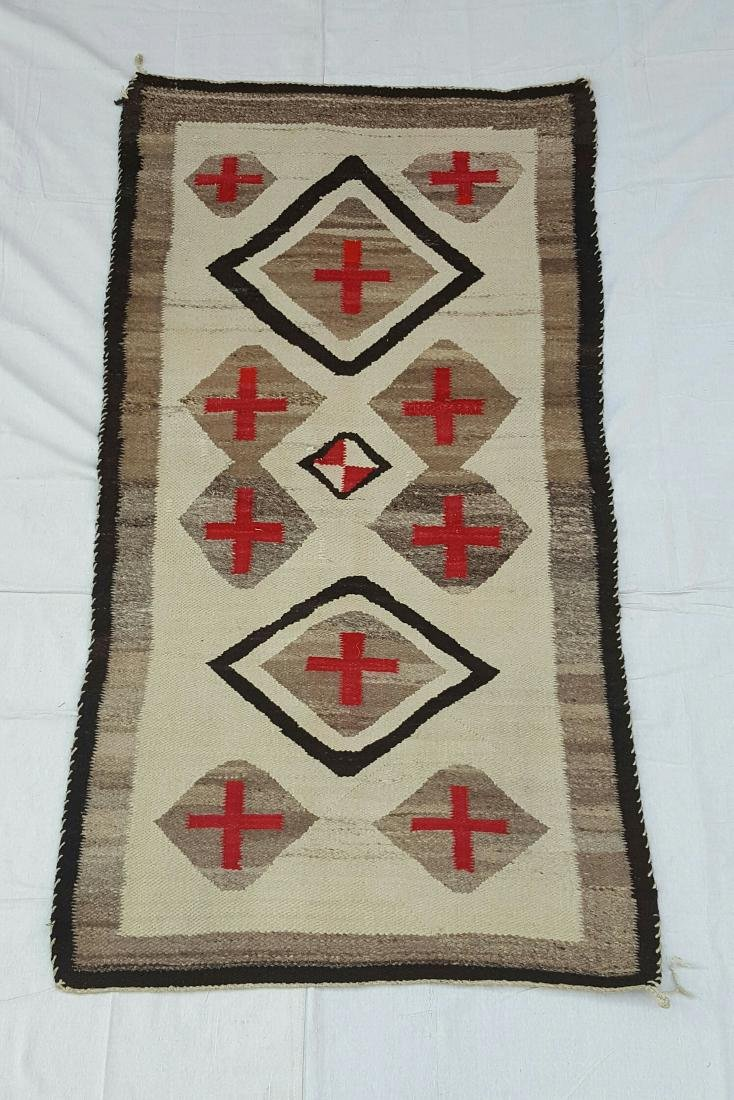 Navajo Woven Pound Rug with Crosses