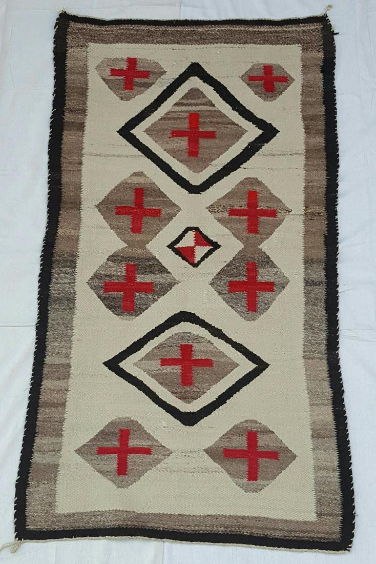 Navajo Woven Pound Rug with Crosses - 2