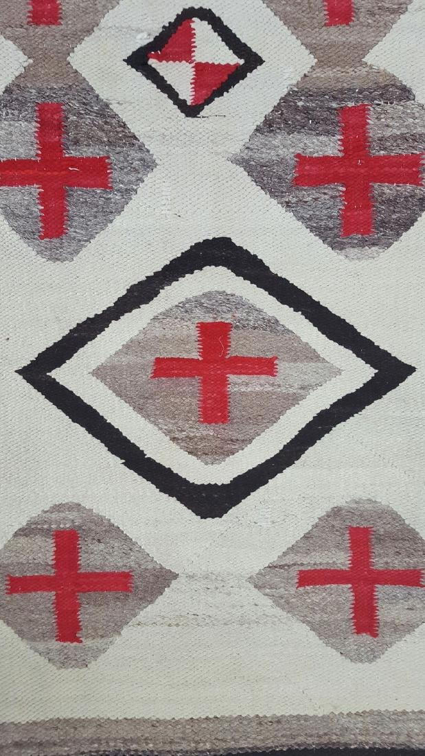 Navajo Woven Pound Rug with Crosses - 3