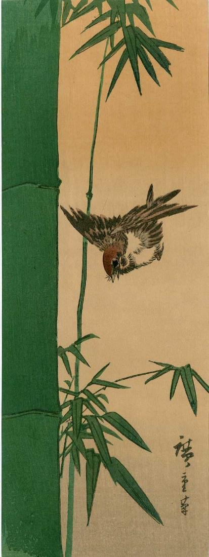 Ando Hiroshige: Bamboo and Sparrow in Flight