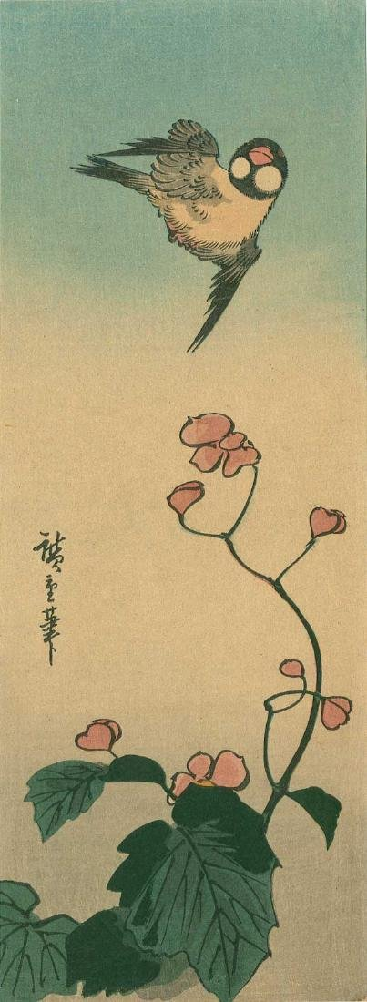 Ando Hiroshige: Begonia and Rice Bird