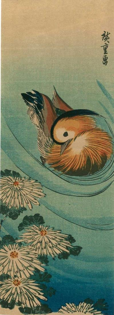 Ando Hiroshige: Chrysanthemums and Mandarin Duck