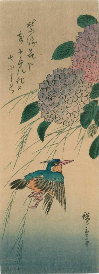 Ando Hiroshige: Hydrangea and Kingfisher