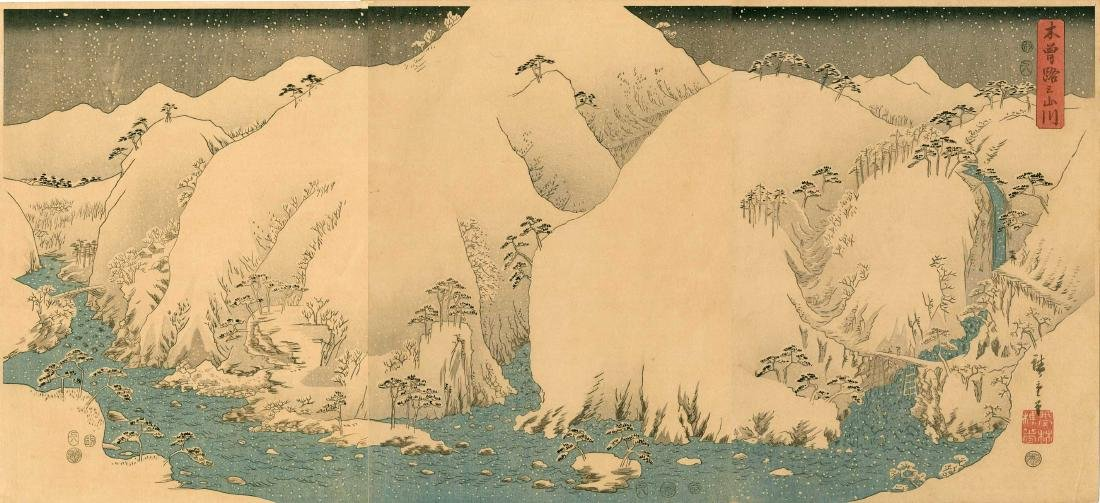 Ando Hiroshige: Kiso Gorge in Snow Triptych