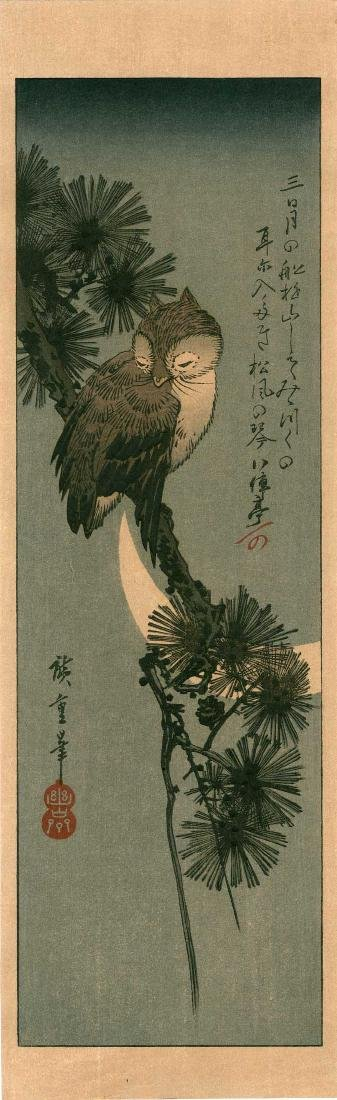 Ando Hiroshige: Little Owl Sleeping in a Pine Tree