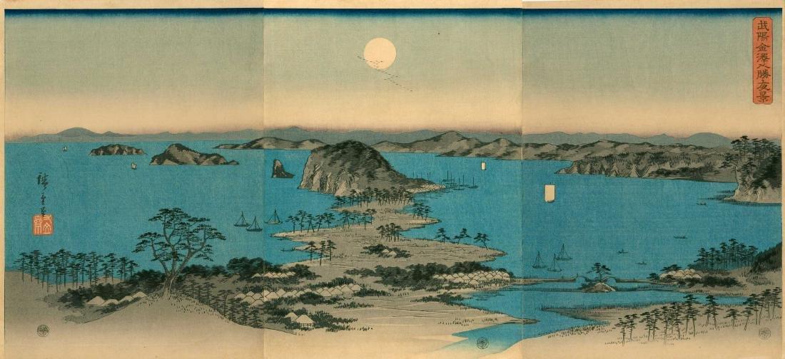 Ando Hiroshige: Panorama of  Kanazawa Triptych