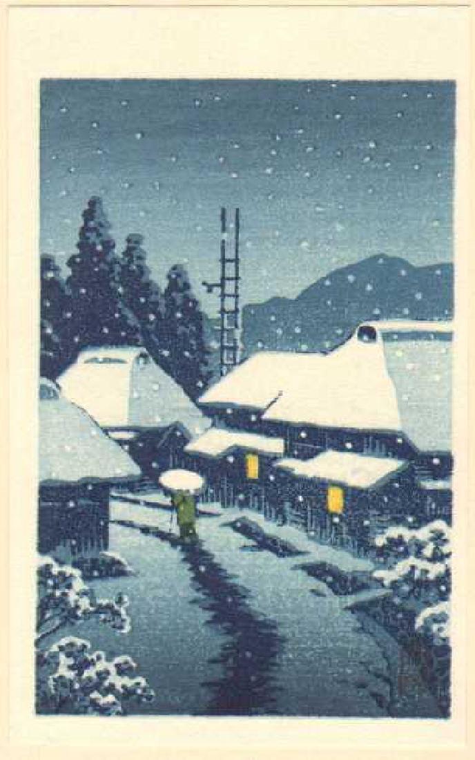 Hasui Kawase: Terashima Village in Snow+Bonus Print