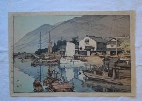 Hiroshi Yoshida: Harbor of Tomonomura