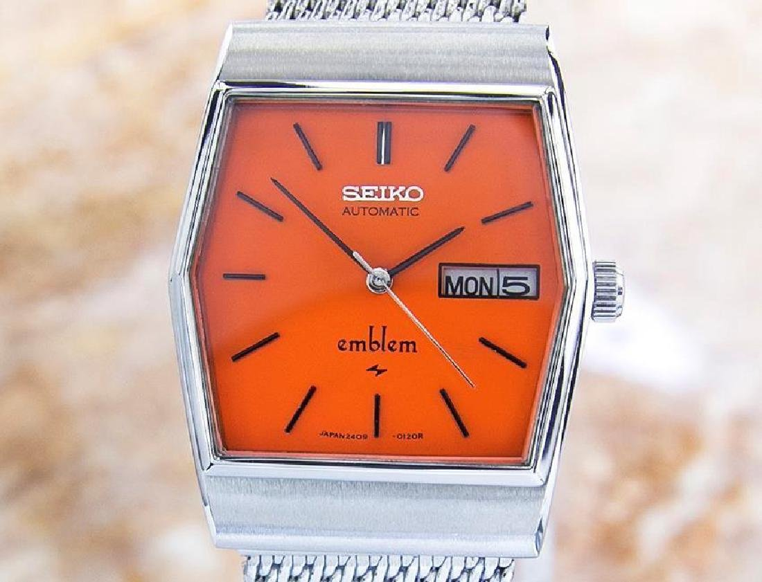 Vintage Seiko Emblem Stainless Steel Automatic Watch