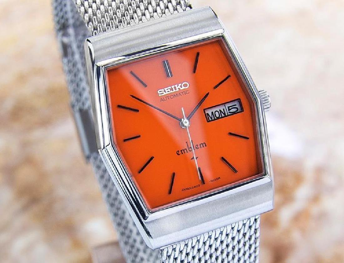 Vintage Seiko Emblem Stainless Steel Automatic Watch - 3