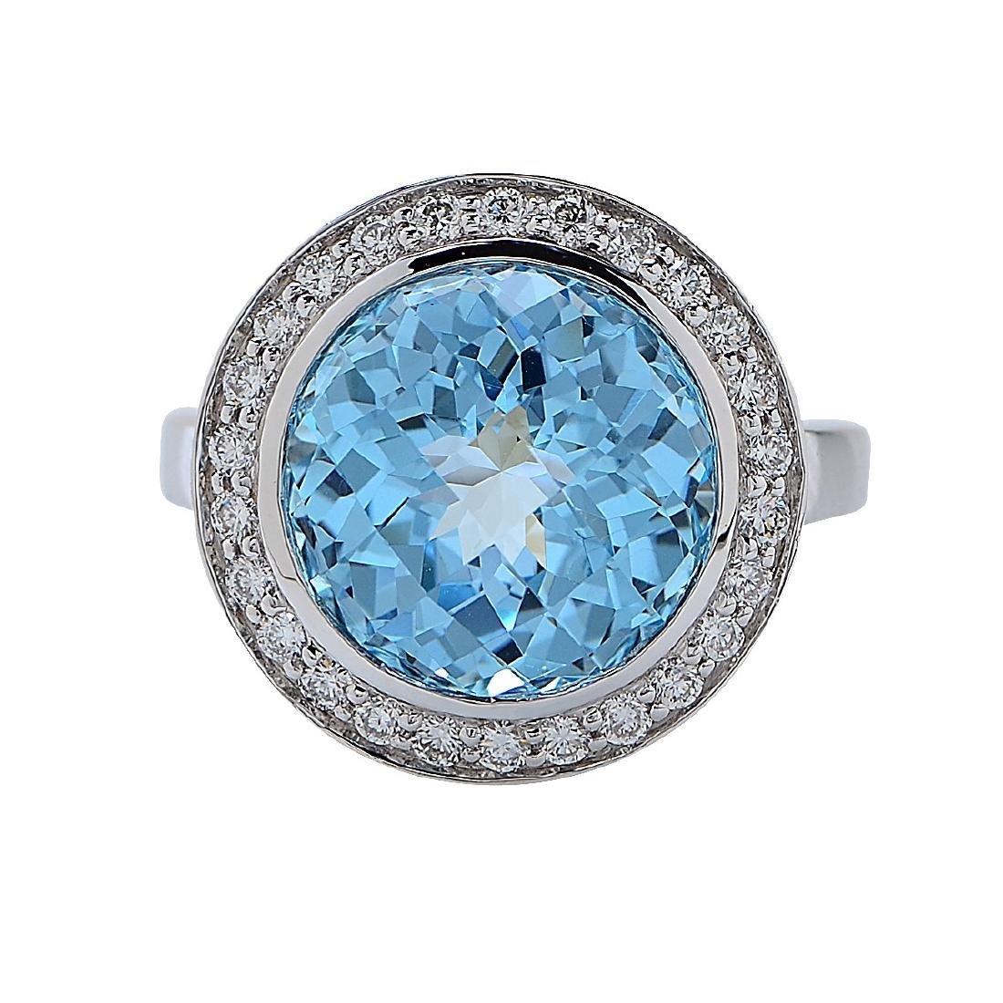18K White Gold Blue Topaz Diamond Ring