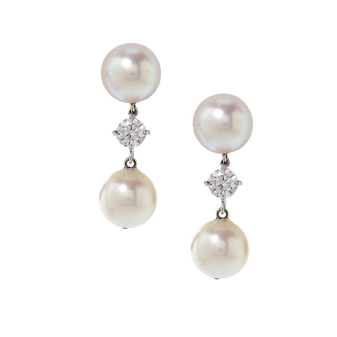 14K White Gold Diamond Pearl Earrings