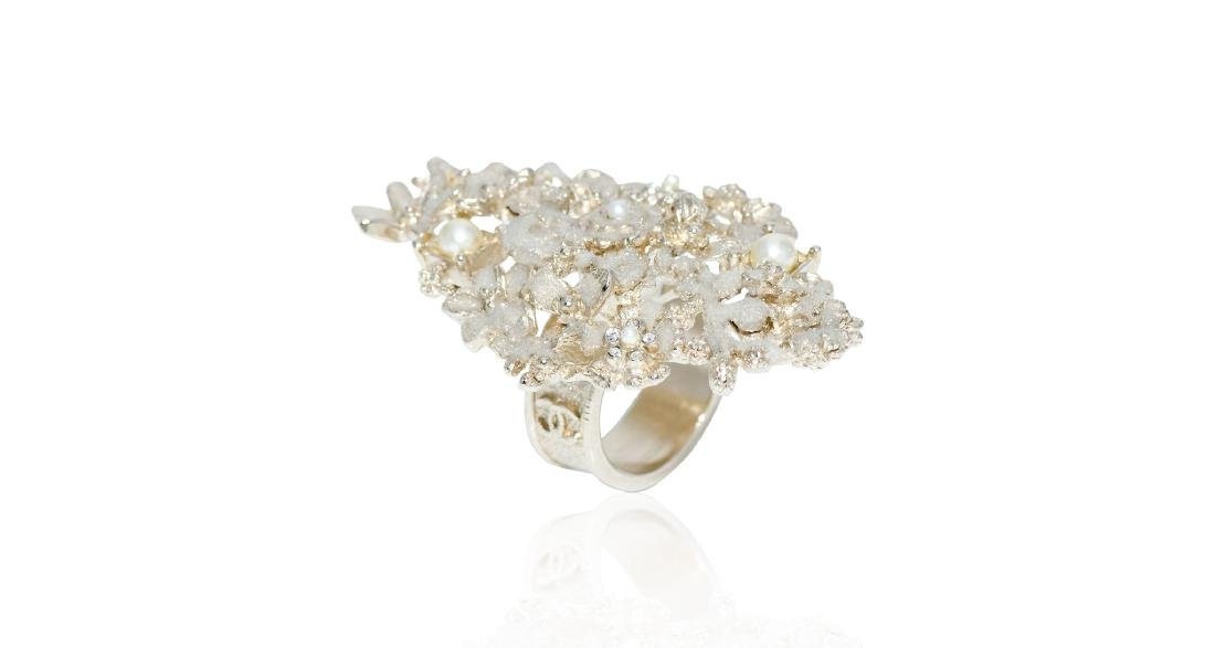 Chanel Delicate Floral Detail Pearl Accents Ring