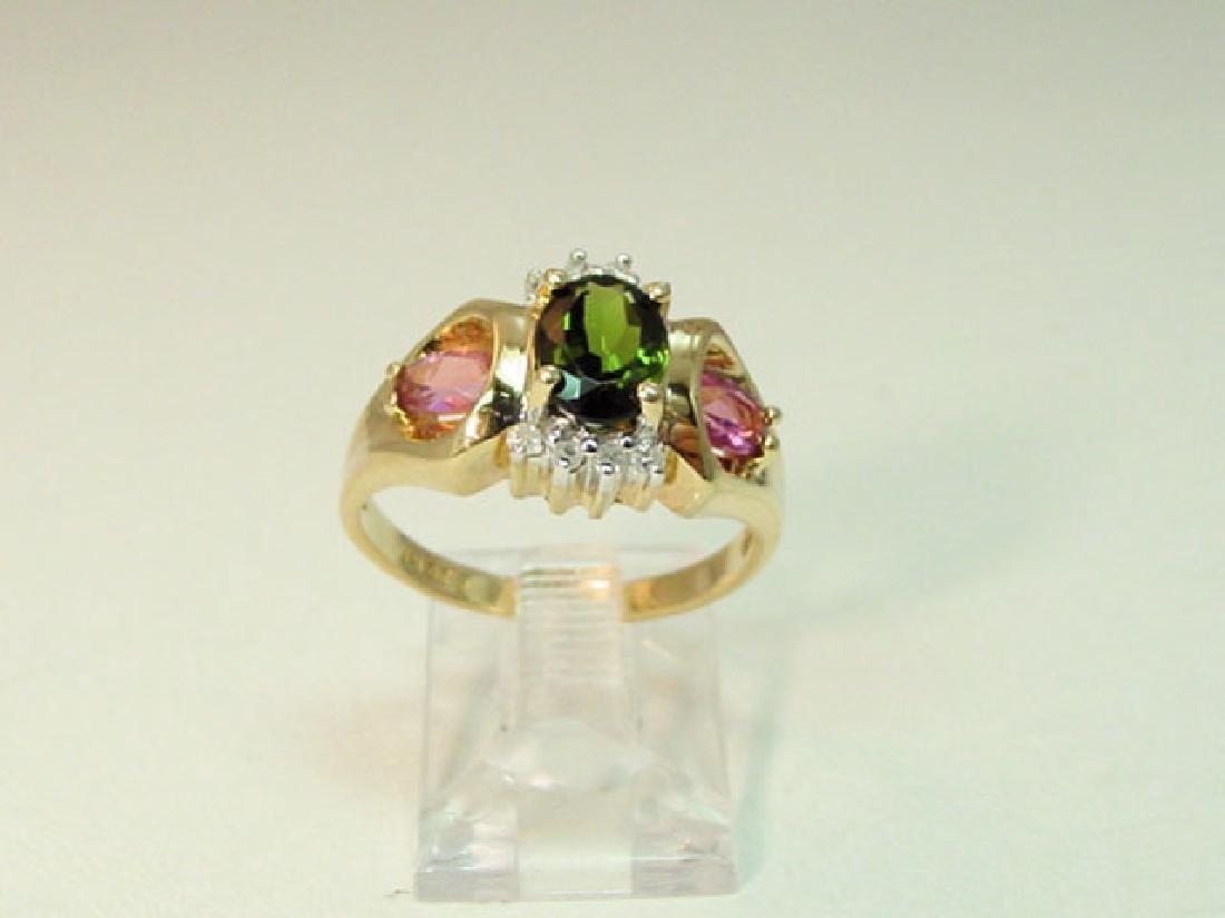 Vintage 14k Gold Pink Green Stone Ring