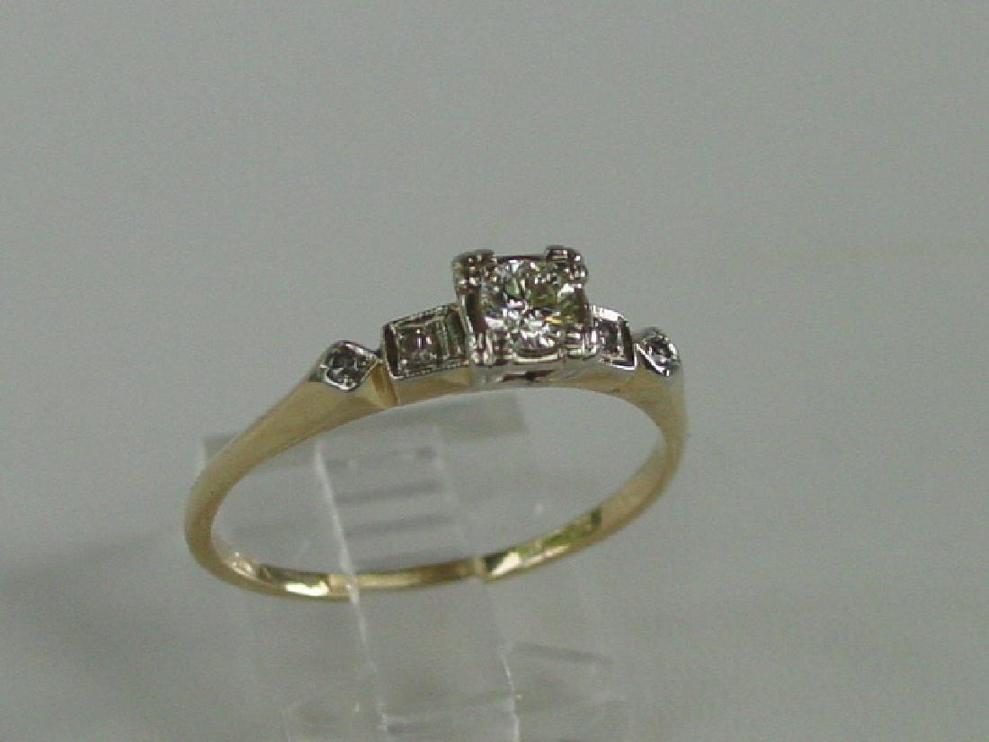 Vintage 14K Gold Diamond Engagement Style Ring