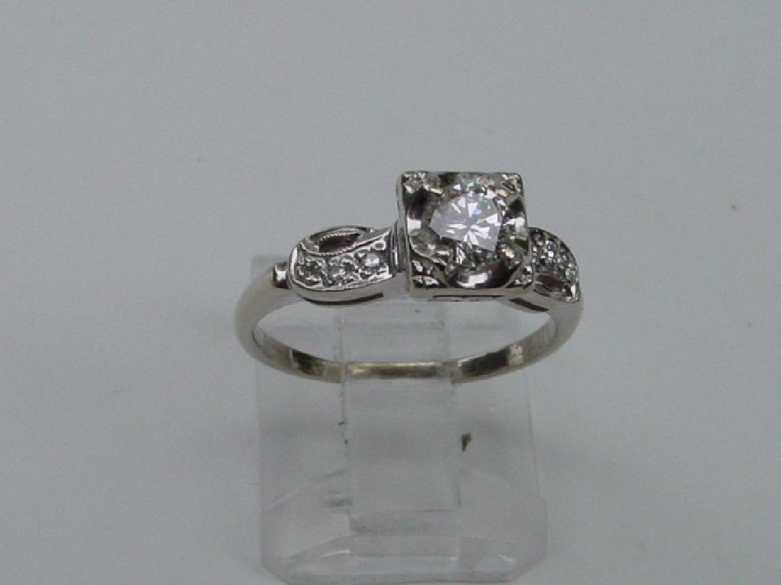 Vintage 14K White Gold Center Diamond Ring