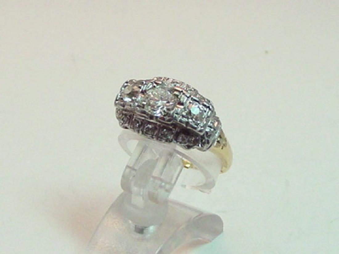 Vintage 14K Gold Diamond Art Deco Style Ring