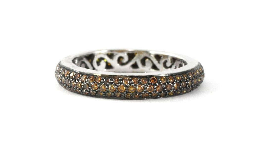 18K Gold Natural Burnt Orange Diamond Tyre Band
