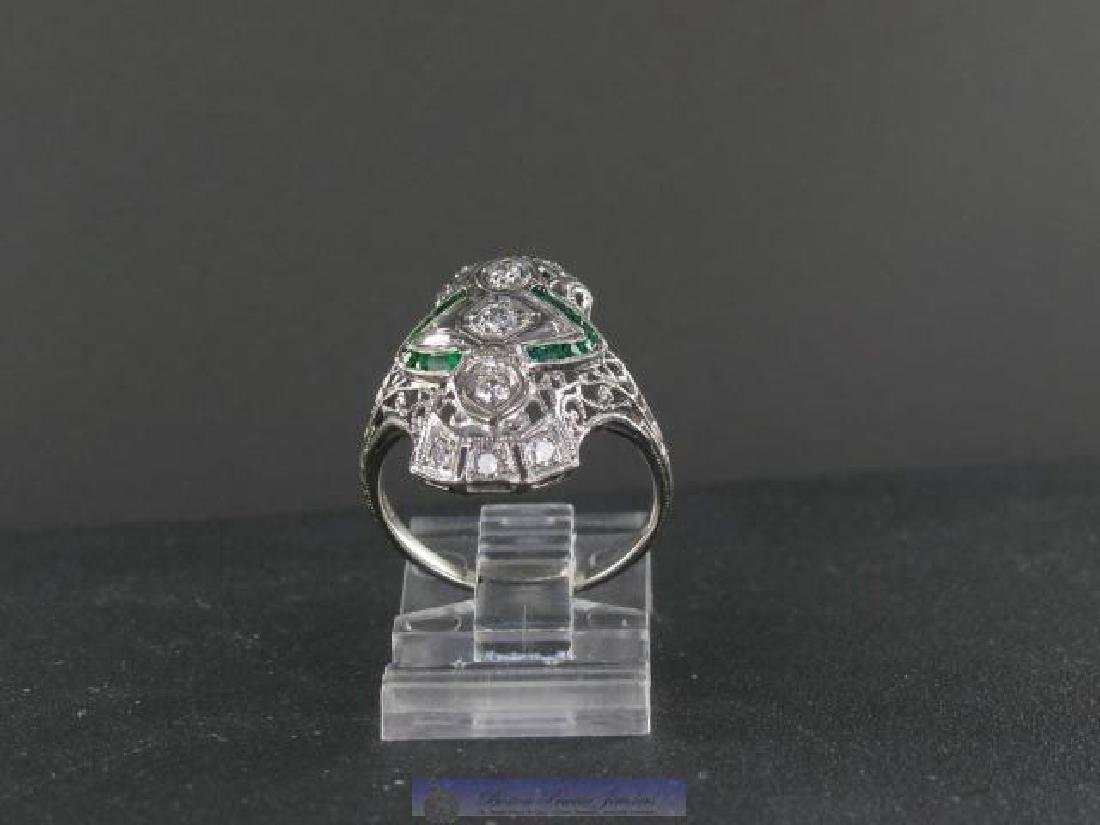 Vintage 18K Gold Filigree Diamond Emerald Ring
