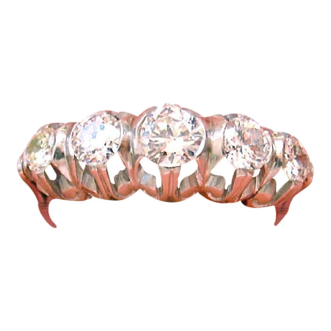 Vintage Mid Century Diamond Platinum 5 Stone Ring