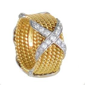 Tiffany & Co. Schlumberger 18K Gold Diamond X Ring