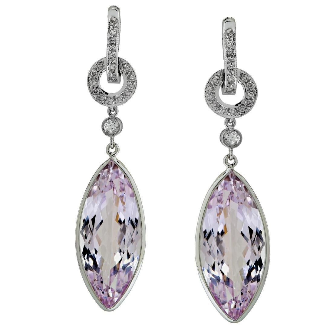 18K Gold Kunzite Quartz Diamond Earrings