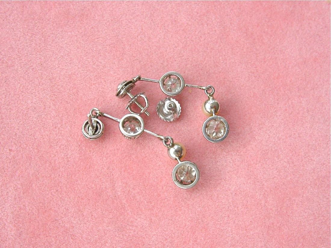 Antique Diamond Natural Pearl Dangle Earrings - 10