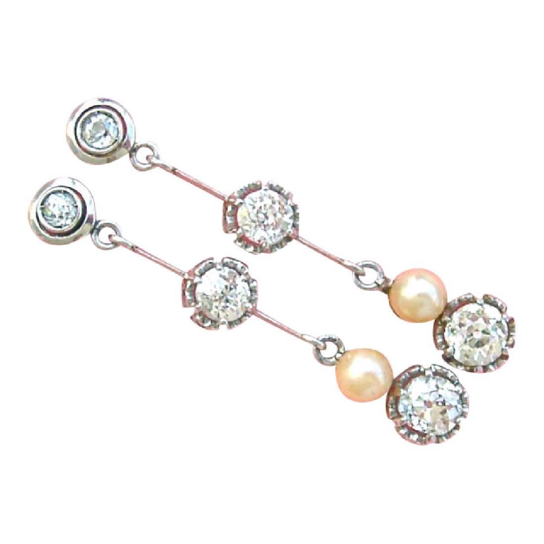 Antique Diamond Natural Pearl Dangle Earrings
