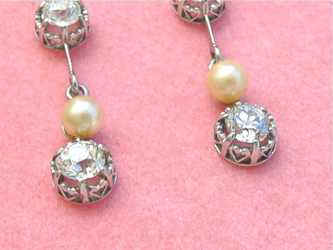 Antique Diamond Natural Pearl Dangle Earrings - 2