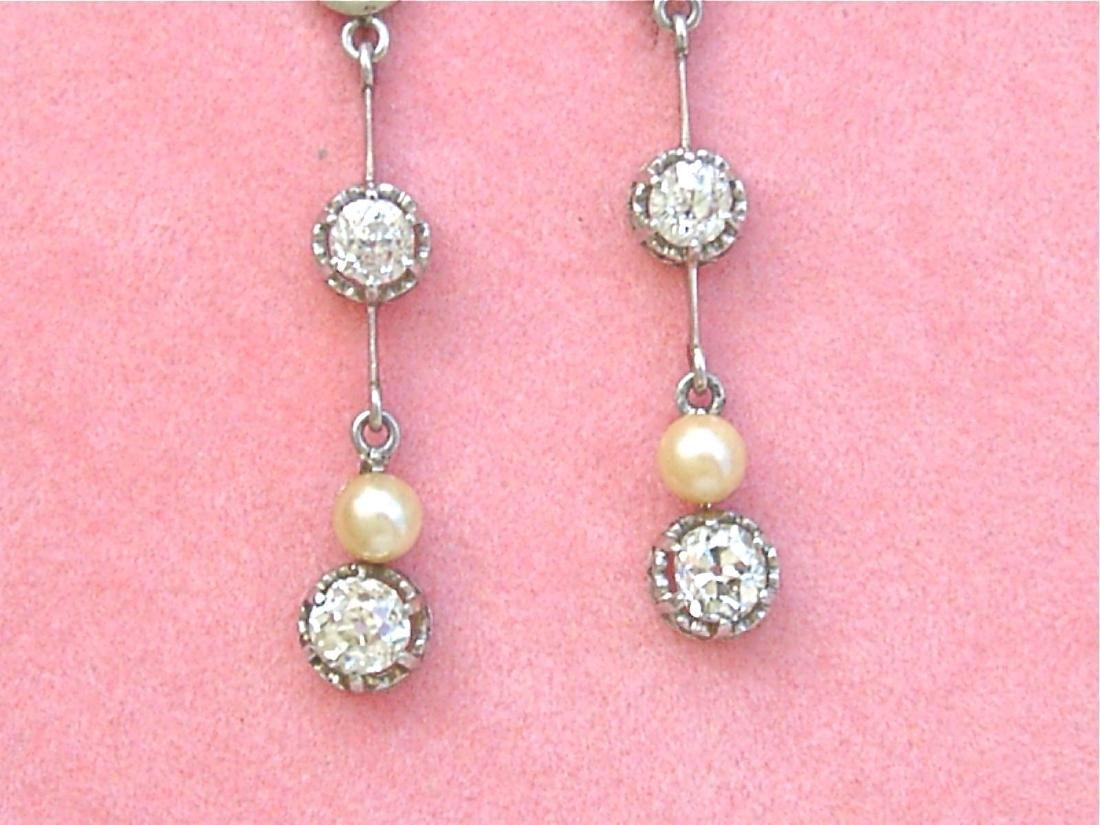 Antique Diamond Natural Pearl Dangle Earrings - 3
