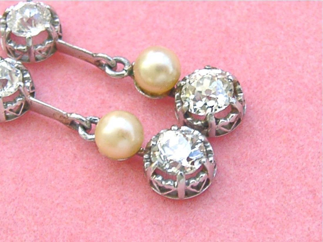 Antique Diamond Natural Pearl Dangle Earrings - 4