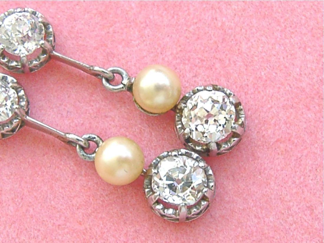 Antique Diamond Natural Pearl Dangle Earrings - 5