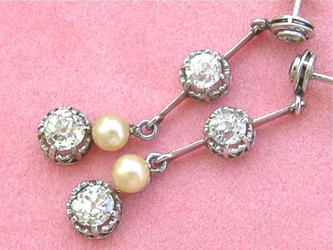 Antique Diamond Natural Pearl Dangle Earrings - 6